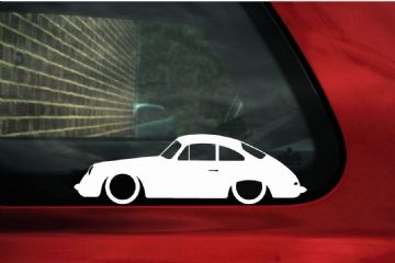 2X Lowered Porsche 356 Coupe classic car outline STICKERS decal